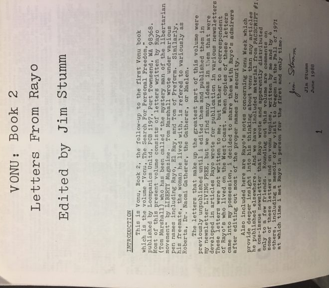 A Letter from Rayo Concerning Jim Stumm's Trip to Vonu-Land