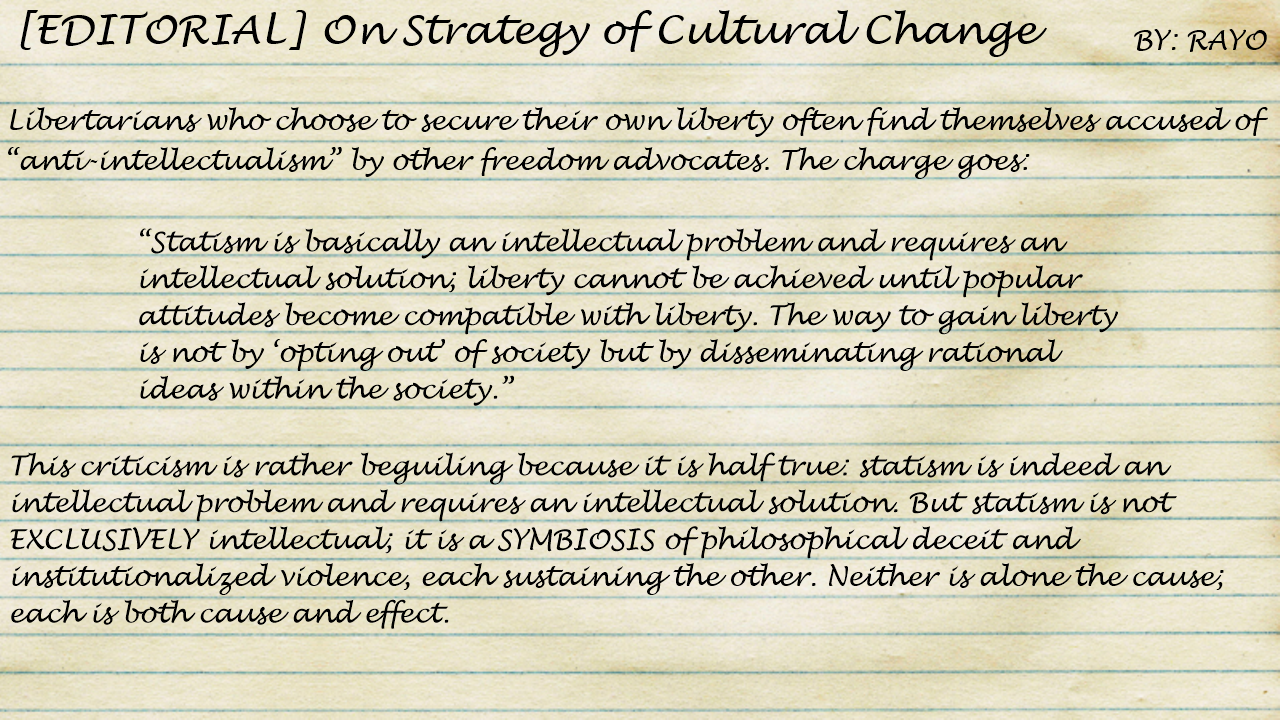TVP Intermission #49: On Strategy of Cultural Change by Rayo [Winter 1969 INNOVATOR]